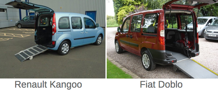 Types of hire car with wheelchair access.