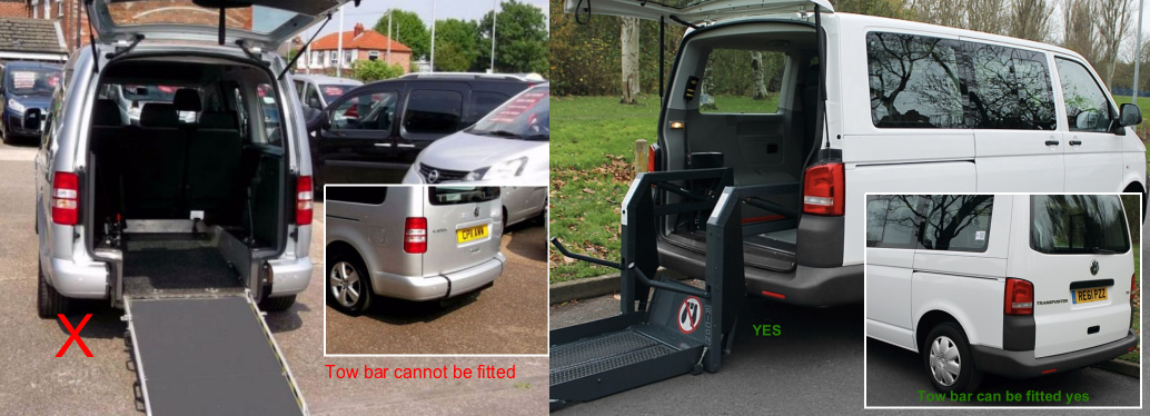 Lowered floor WAV not possible for a tow bar.
