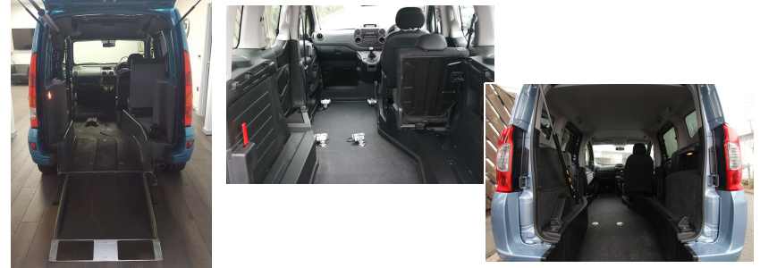 Rear entry ramp wheelchair passenger car.